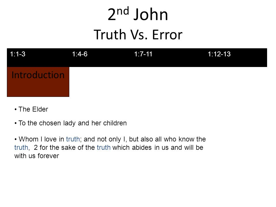 2 nd John Truth Vs.