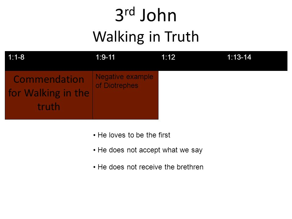 3 rd John Walking in Truth Commendation for Walking in the truth Negative example of Diotrephes 1:1-81:9-111:13-141:12 He loves to be the first He does not accept what we say He does not receive the brethren