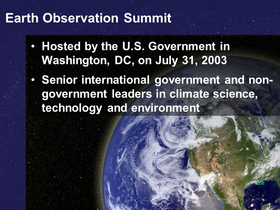 Earth Observation Summit Hosted by the U.S.