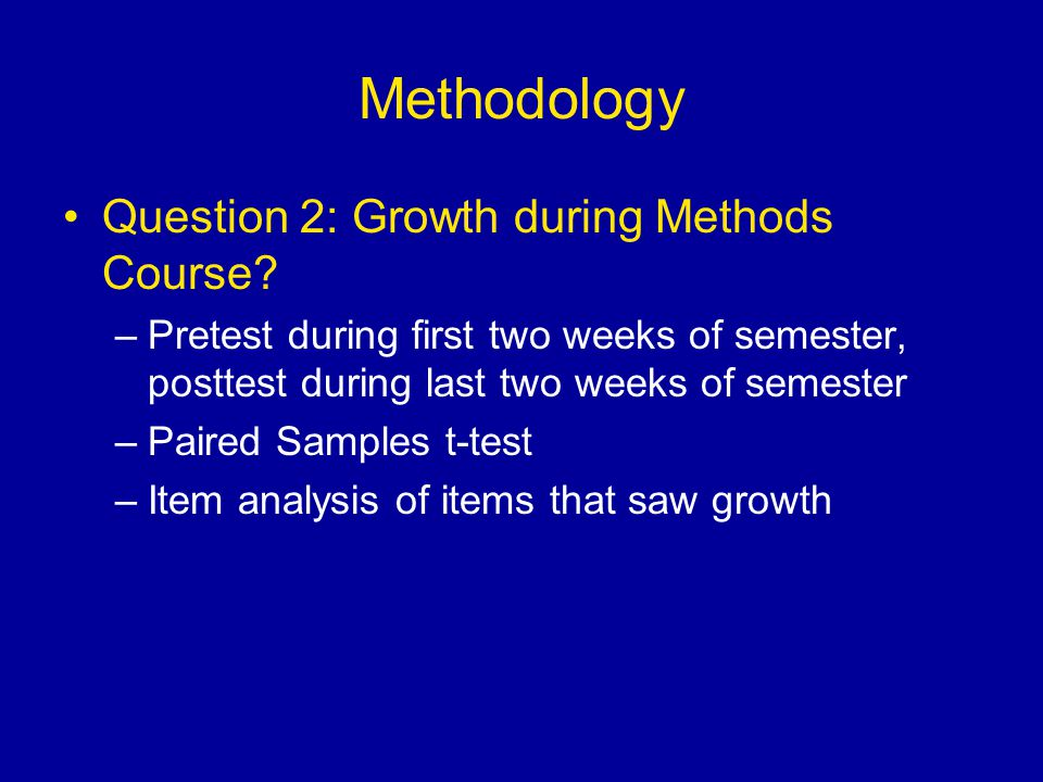 Methodology Question 2: Growth during Methods Course.