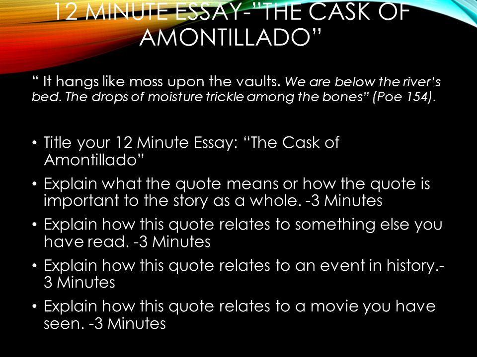 tuesday  english binders reading books and writers notebook  12 minute essay the cask of amontillado it hangs like moss upon the vaults