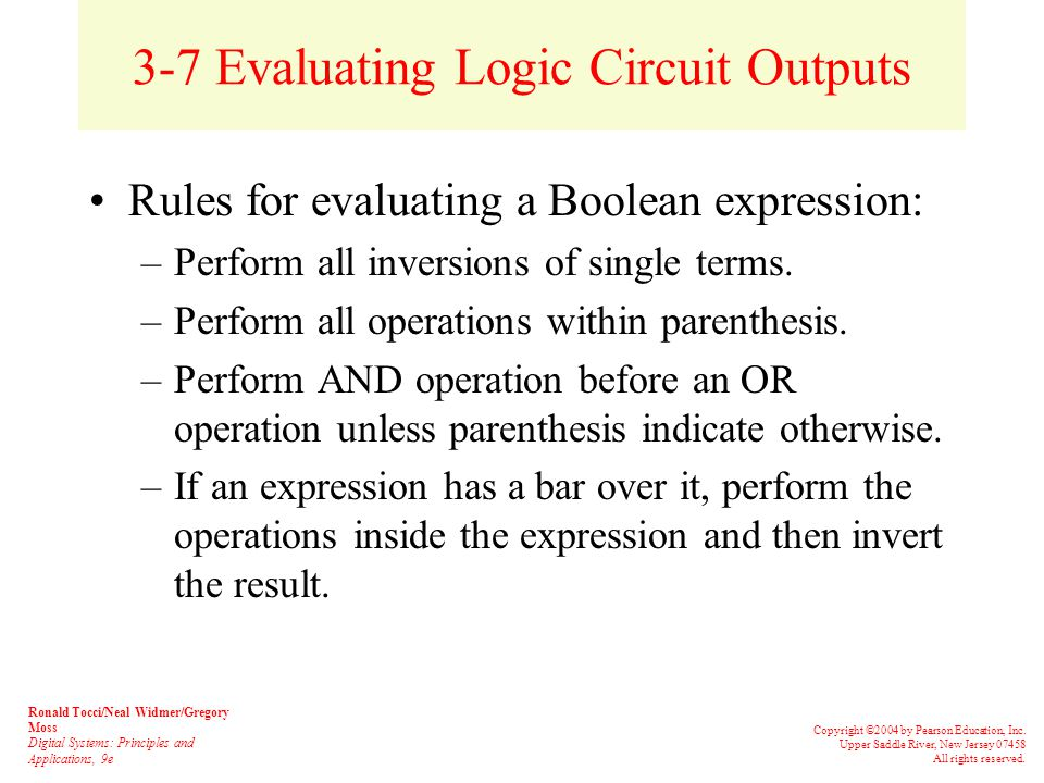 3-6 Describing Logic Circuits Algebraically The output of an inverter is equivalent to the input with a bar over it.