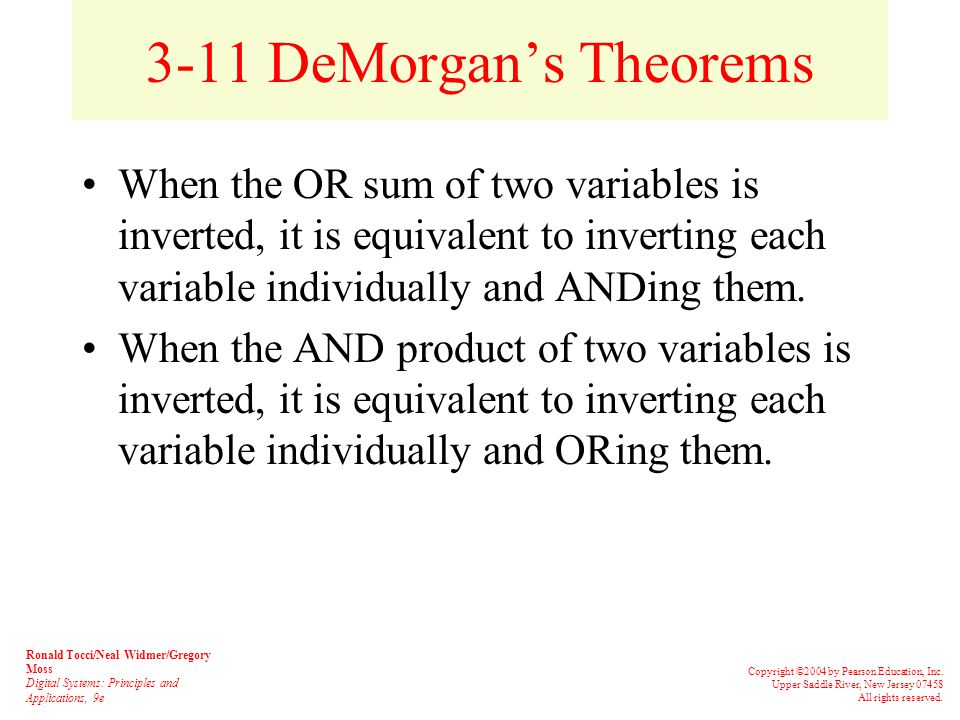 3-10 Boolean Theorems Multivariable theorems: Understanding all of the Boolean theorems will be useful in reducing expressions to their simplest form.