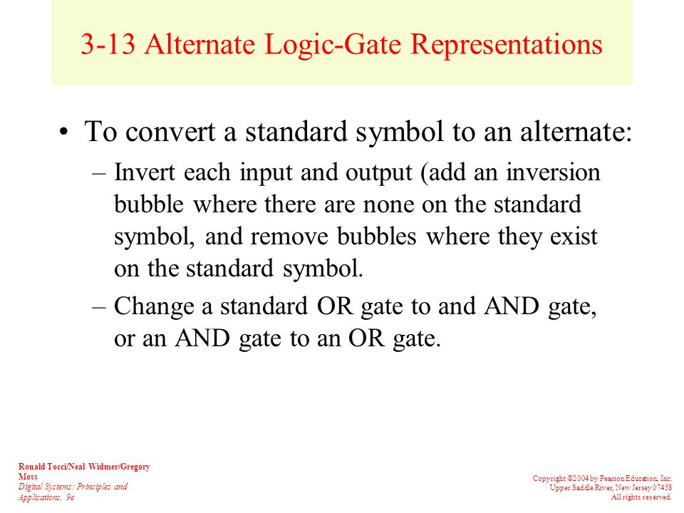 3-12 Universality of NAND and NOR Gates NAND or NOR gates can be used to create the three basic logic expressions (OR, AND, and INVERT) Figures 3-29 and 3-30 illustrate how combinations of NANDs or NORs are used to create the three logic functions.