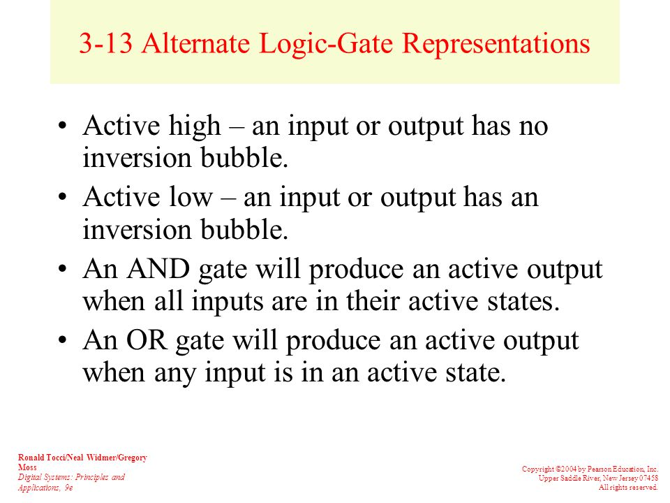 3-13 Alternate Logic-Gate Representations The equivalence can be applied to gates with any number of inputs.