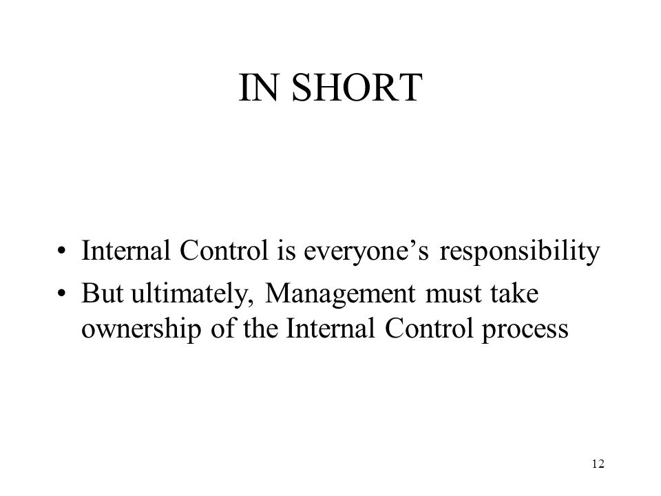 12 IN SHORT Internal Control is everyone's responsibility But ultimately, Management must take ownership of the Internal Control process
