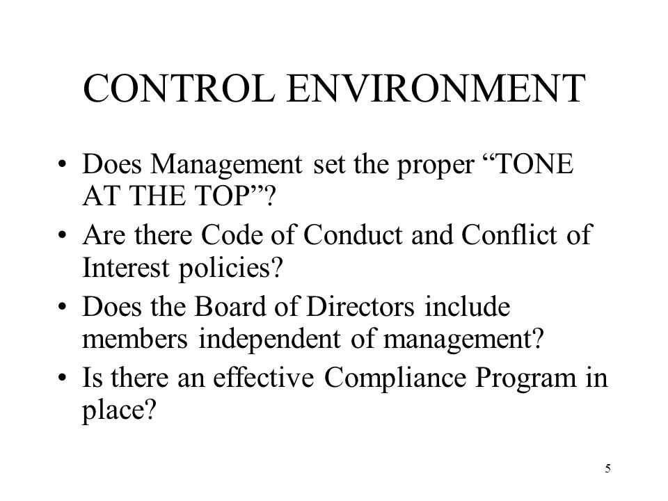 5 CONTROL ENVIRONMENT Does Management set the proper TONE AT THE TOP .