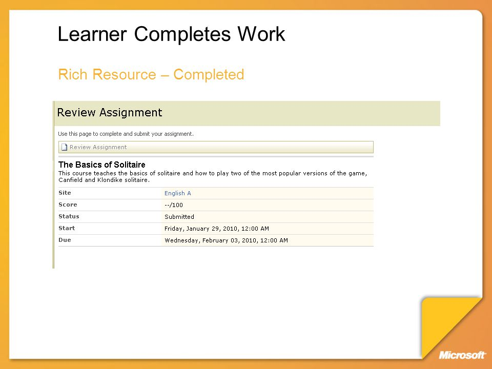 Learner Completes Work Rich Resource – Completed