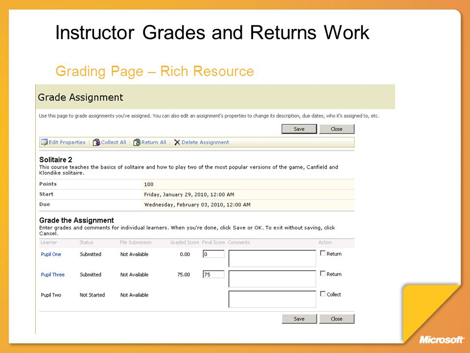 Instructor Grades and Returns Work Grading Page – Rich Resource