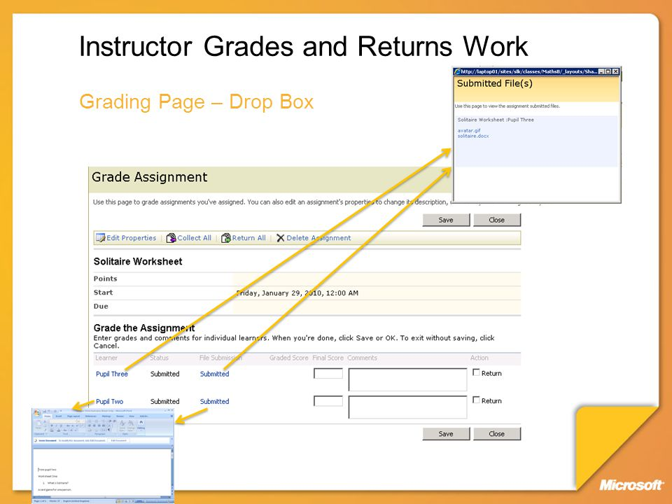 Instructor Grades and Returns Work Grading Page – Drop Box