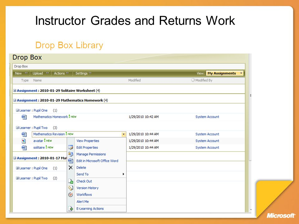 Instructor Grades and Returns Work Drop Box Library