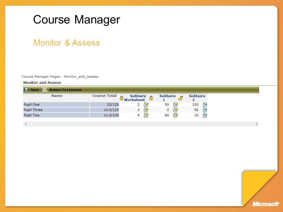 Course Manager Monitor & Assess