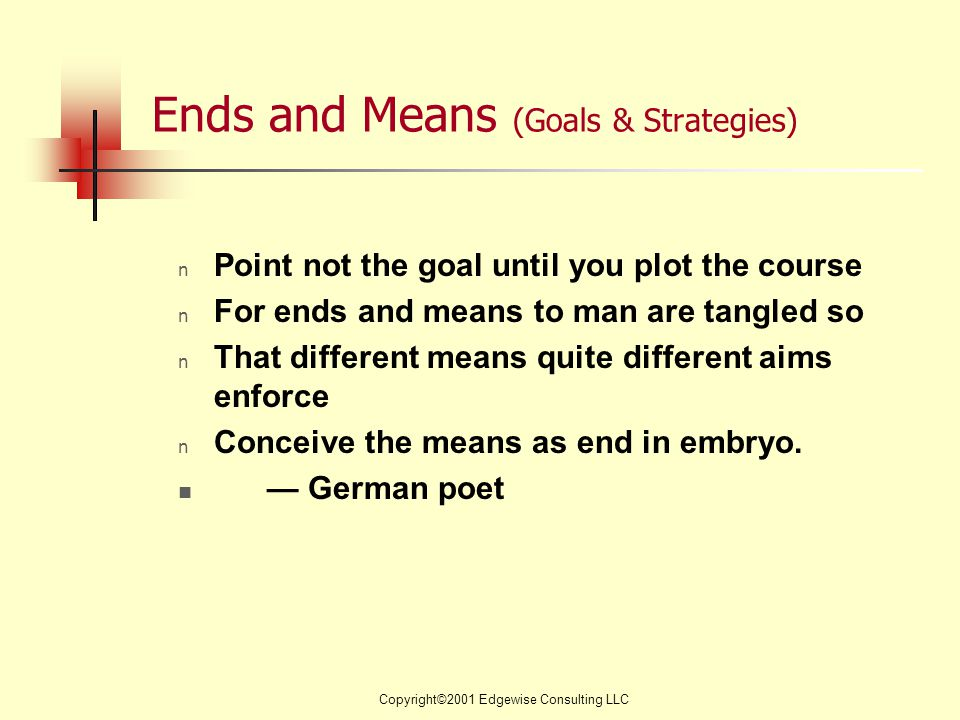 Copyright©2001 Edgewise Consulting LLC Ends and Means (Goals & Strategies) n Point not the goal until you plot the course n For ends and means to man are tangled so n That different means quite different aims enforce n Conceive the means as end in embryo.