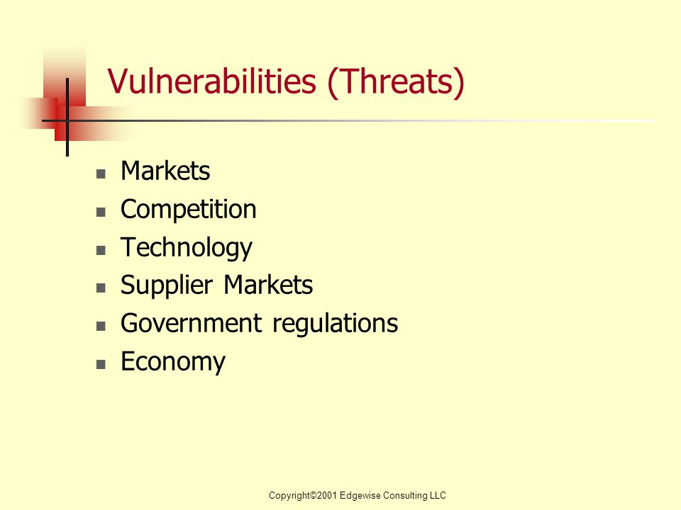 Copyright©2001 Edgewise Consulting LLC Vulnerabilities (Threats) Markets Competition Technology Supplier Markets Government regulations Economy
