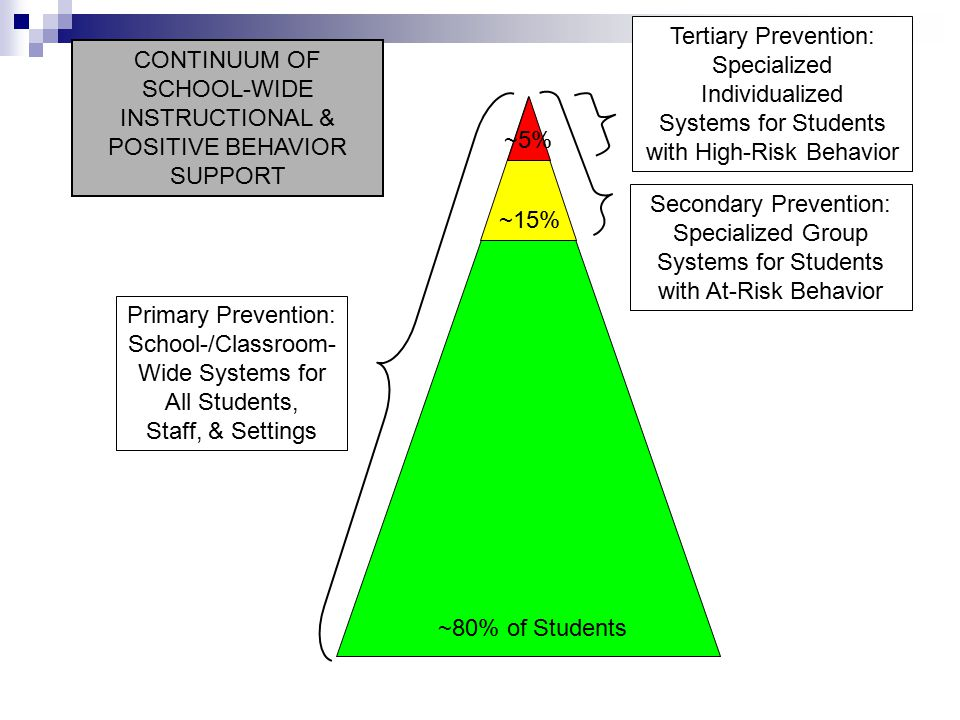 Primary Prevention: School-/Classroom- Wide Systems for All Students, Staff, & Settings Secondary Prevention: Specialized Group Systems for Students with At-Risk Behavior Tertiary Prevention: Specialized Individualized Systems for Students with High-Risk Behavior ~80% of Students ~15% ~5% CONTINUUM OF SCHOOL-WIDE INSTRUCTIONAL & POSITIVE BEHAVIOR SUPPORT