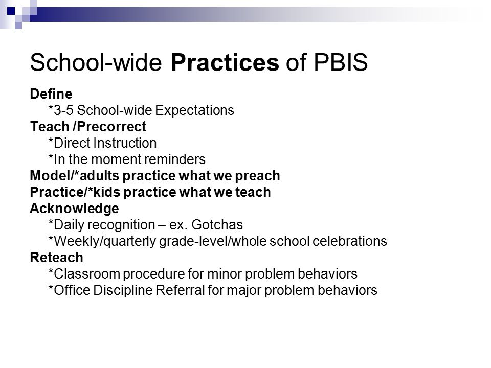 School-wide Practices of PBIS Define *3-5 School-wide Expectations Teach /Precorrect *Direct Instruction *In the moment reminders Model/*adults practice what we preach Practice/*kids practice what we teach Acknowledge *Daily recognition – ex.