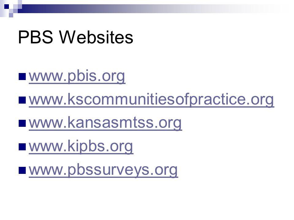 PBS Websites www.pbis.org www.kscommunitiesofpractice.org www.kansasmtss.org www.kipbs.org www.pbssurveys.org