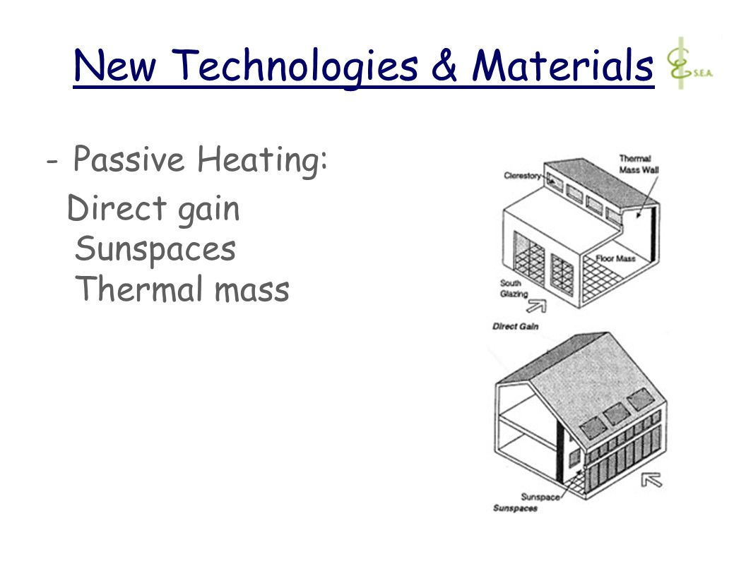 New Technologies & Materials -Passive Heating: Direct gain Sunspaces Thermal mass