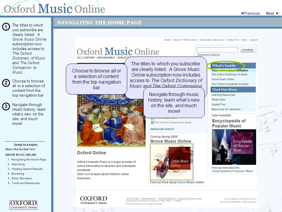 "NAVIGATING THE HOME PAGE Next "" GROVE MUSIC ONLINE 3."