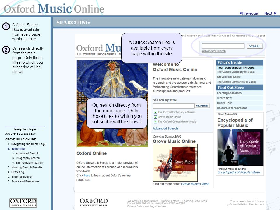 SEARCHING GROVE MUSIC ONLINE 2. Searching Jump to a topic:  Previous 5.