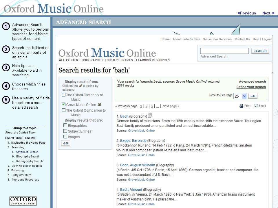 ADVANCED SEARCH GROVE MUSIC ONLINE 2. Searching Jump to a topic:  Previous 5.