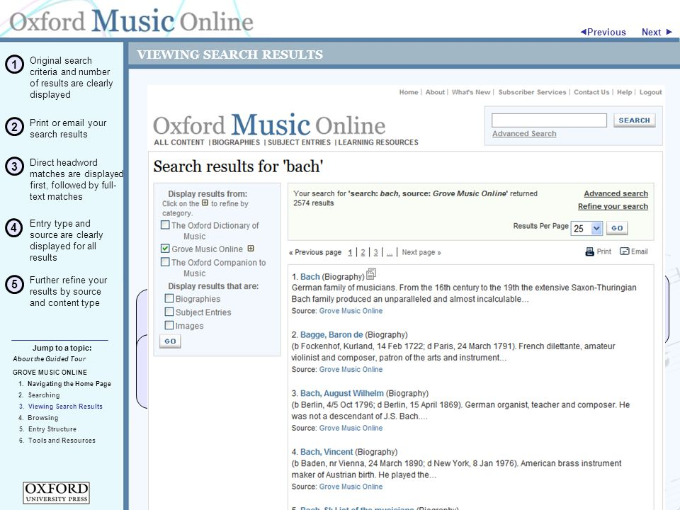 VIEWING SEARCH RESULTS GROVE MUSIC ONLINE Jump to a topic:  Previous 5.