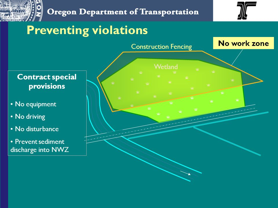 Preventing violations Wetland Contract special provisions No equipment No driving No disturbance Prevent sediment discharge into NWZ No work zone Construction Fencing