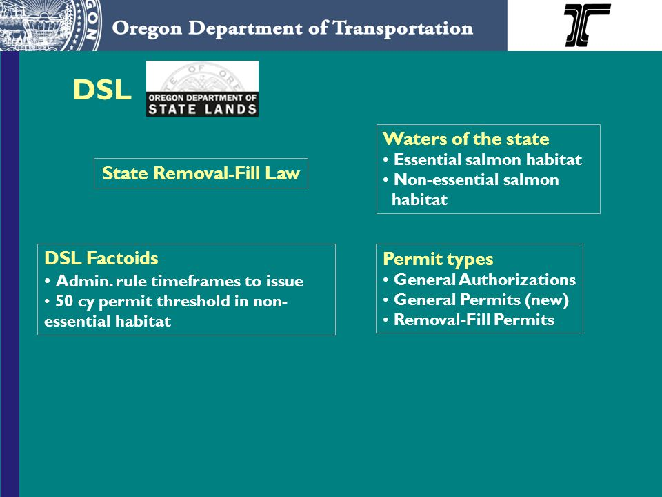 State Removal-Fill Law Waters of the state Essential salmon habitat Non-essential salmon habitat Permit types General Authorizations General Permits (new) Removal-Fill Permits DSL Factoids Admin.