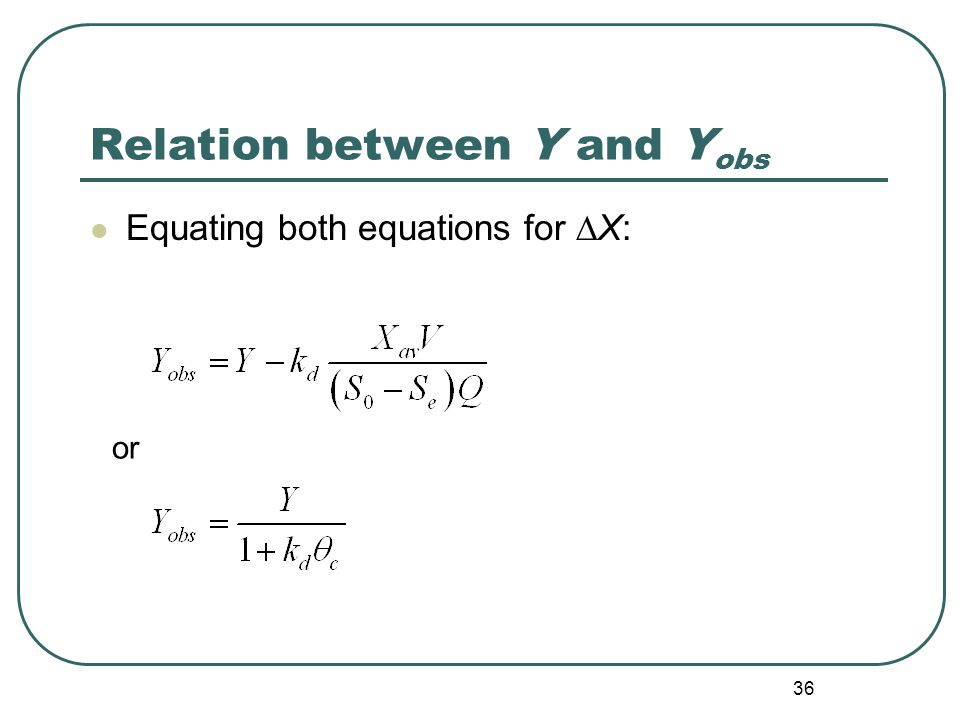 36 Relation between Y and Y obs Equating both equations for ∆X: or