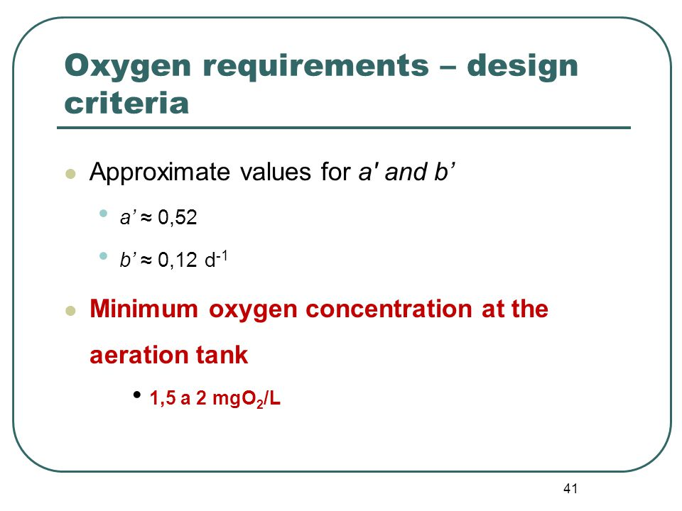 41 Oxygen requirements – design criteria Approximate values for a and b' a'≈ 0,52 b'≈ 0,12 d -1 Minimum oxygen concentration at the aeration tank 1,5 a 2 mgO 2 /L