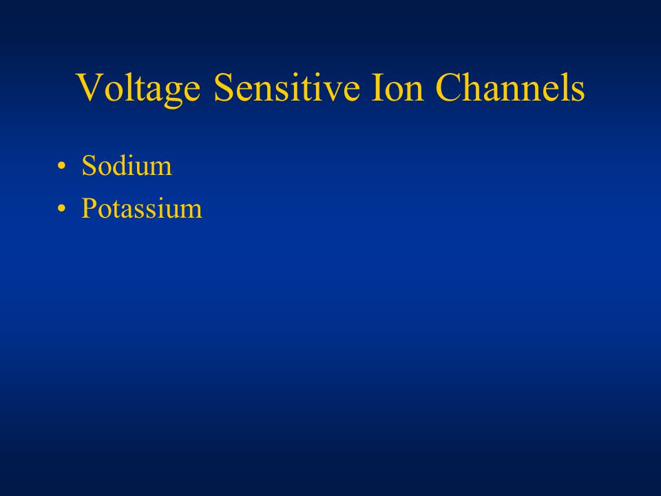 Voltage Sensitive Ion Channels Sodium Potassium