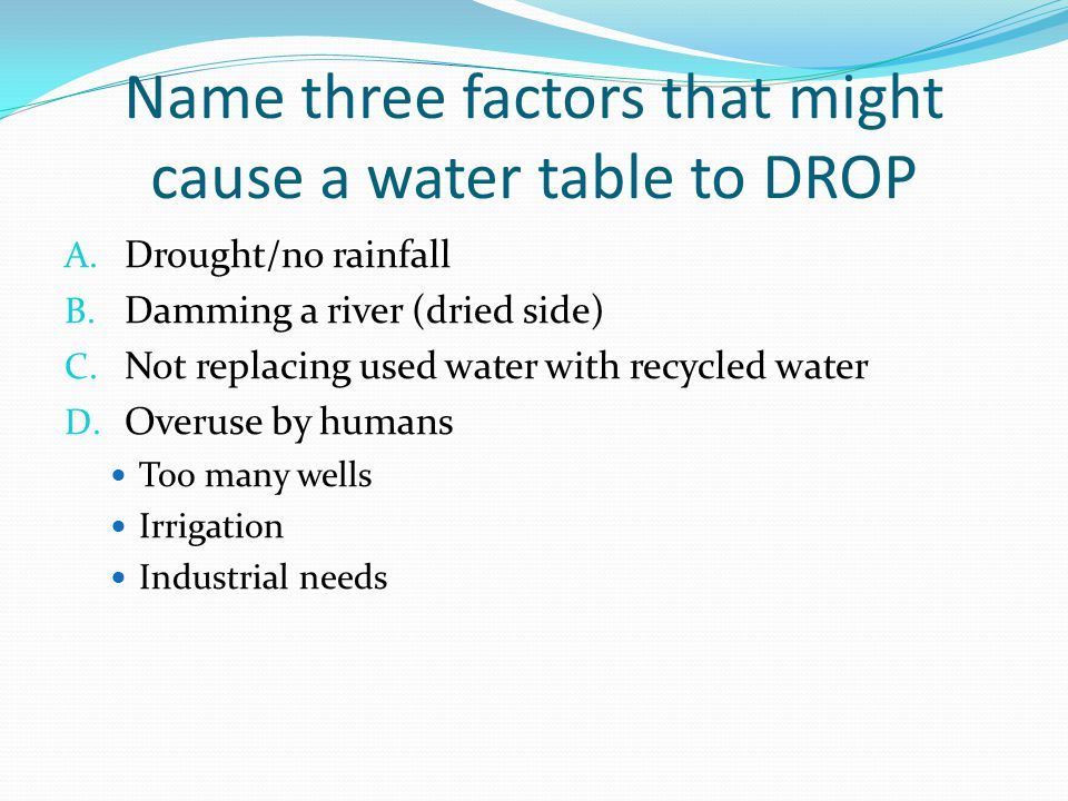 Name three factors that might cause a water table to DROP A.