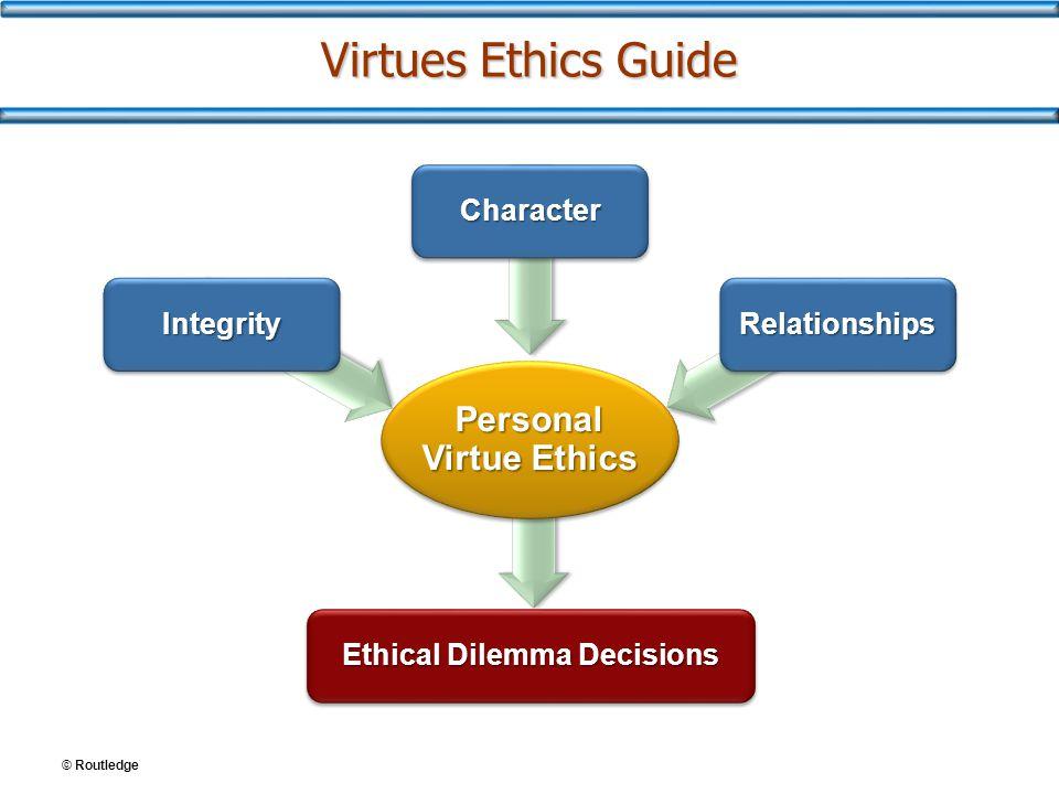 © Routledge Virtues Ethics Guide Personal Virtue Ethics IntegrityIntegrity CharacterCharacter RelationshipsRelationships Ethical Dilemma Decisions