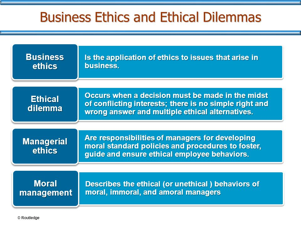 © Routledge Business Ethics and Ethical Dilemmas Is the application of ethics to issues that arise in business. Business ethics Occurs when a decision