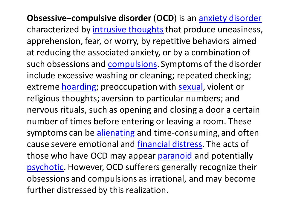 Obsessivecompulsive Disorder Ocd Is An Anxiety Disorder