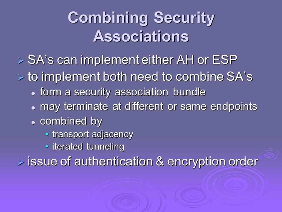 Combining Security Associations  SA's can implement either AH or ESP  to implement both need to combine SA's form a security association bundle form a security association bundle may terminate at different or same endpoints may terminate at different or same endpoints combined by combined by transport adjacencytransport adjacency iterated tunnelingiterated tunneling  issue of authentication & encryption order