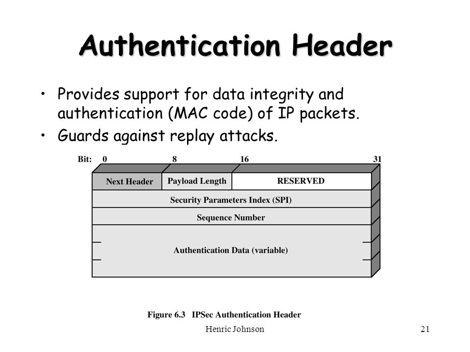 Henric Johnson21 Authentication Header Provides support for data integrity and authentication (MAC code) of IP packets.