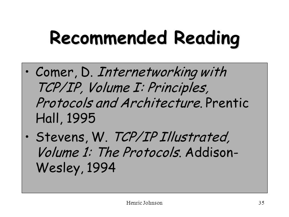 Henric Johnson35 Recommended Reading Comer, D.