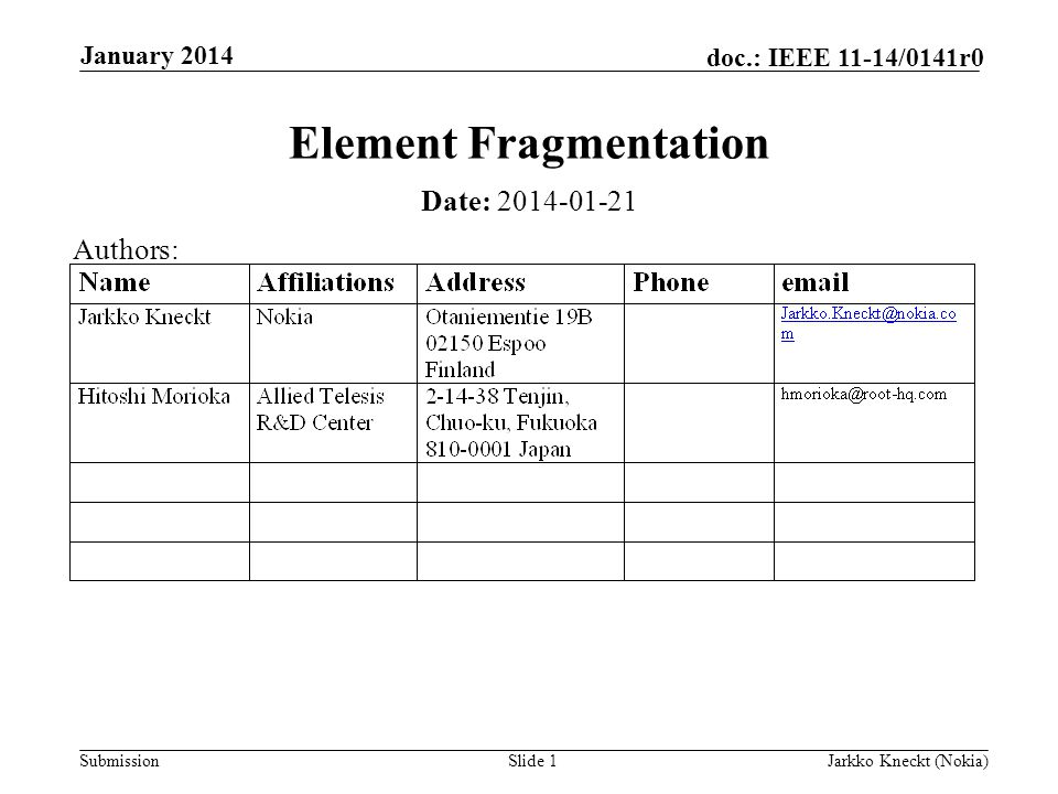 Submission doc.: IEEE 11-14/0141r0 January 2014 Jarkko Kneckt (Nokia)Slide 1 Element Fragmentation Date: Authors:
