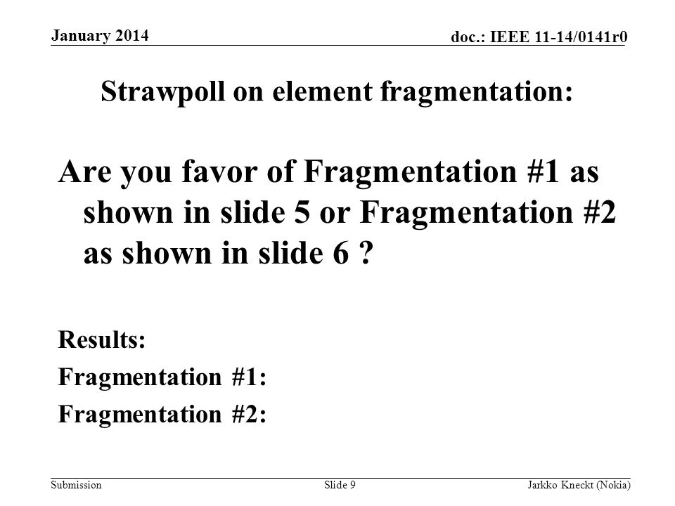 Submission doc.: IEEE 11-14/0141r0 Strawpoll on element fragmentation: Are you favor of Fragmentation #1 as shown in slide 5 or Fragmentation #2 as shown in slide 6 .
