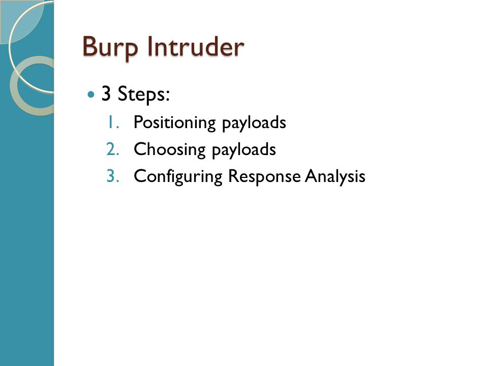 Burp Intruder 3 Steps: 1.Positioning payloads 2.Choosing payloads 3.Configuring Response Analysis