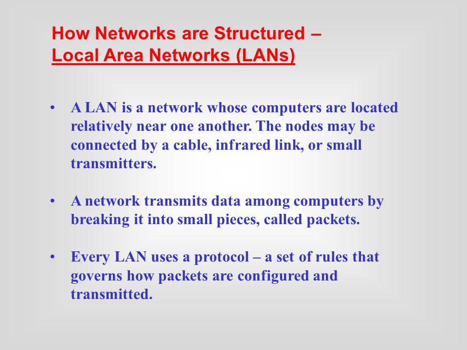 A LAN is a network whose computers are located relatively near one another.