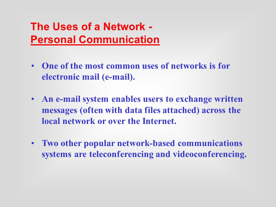 One of the most common uses of networks is for electronic mail ( ).