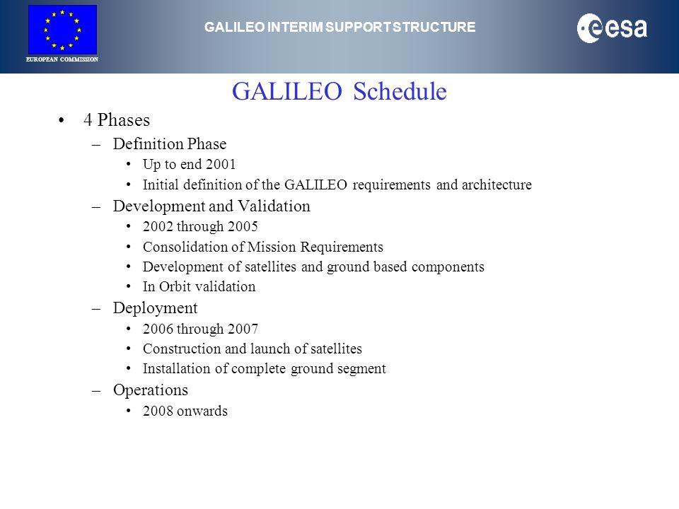 GALILEO INTERIM SUPPORT STRUCTURE EUROPEAN COMMISSION GALILEO Schedule 4 Phases –Definition Phase Up to end 2001 Initial definition of the GALILEO requirements and architecture –Development and Validation 2002 through 2005 Consolidation of Mission Requirements Development of satellites and ground based components In Orbit validation –Deployment 2006 through 2007 Construction and launch of satellites Installation of complete ground segment –Operations 2008 onwards