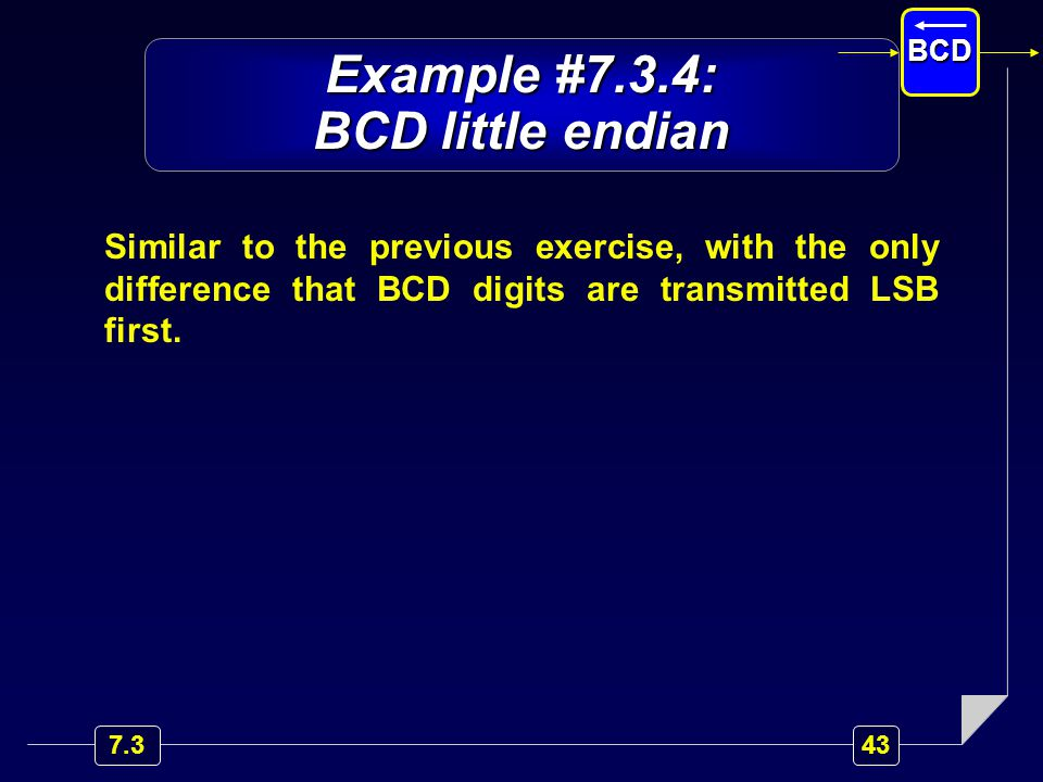 Example #7.3.4: BCD little endian Similar to the previous exercise, with the only difference that BCD digits are transmitted LSB first.
