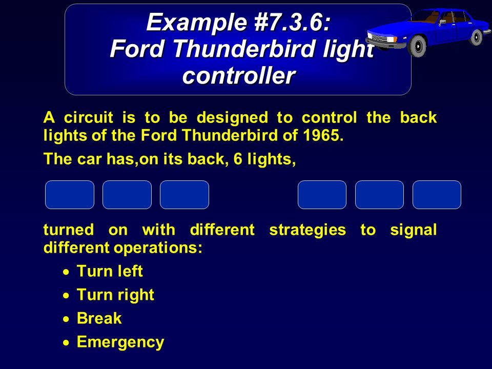 Example #7.3.6: Ford Thunderbird light controller A circuit is to be designed to control the back lights of the Ford Thunderbird of 1965.