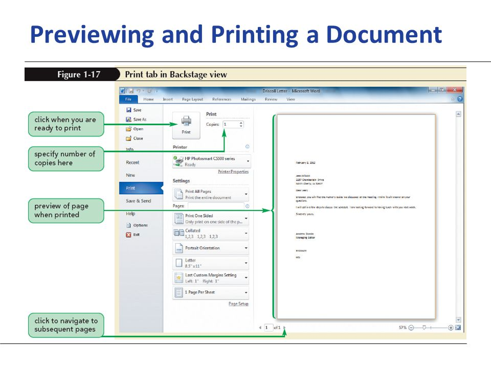 XP Previewing and Printing a Document