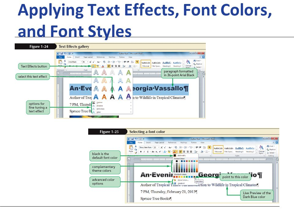XP Applying Text Effects, Font Colors, and Font Styles