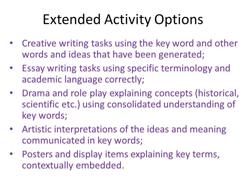 keywords used in essay writing