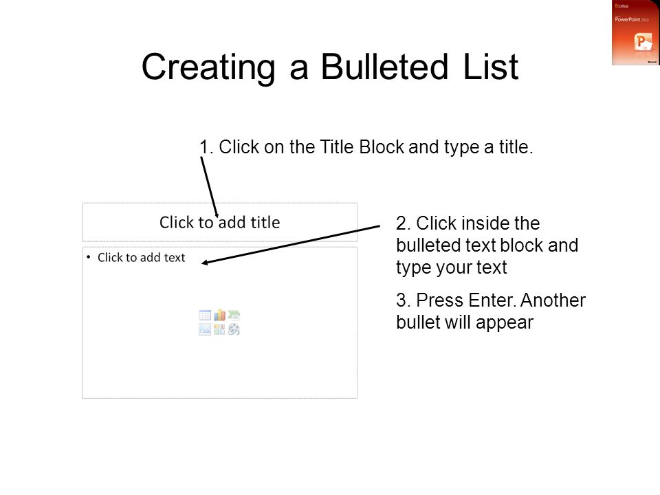 Creating a Bulleted List 1. Click on the Title Block and type a title.